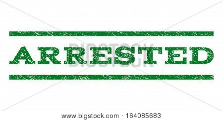 Arrested watermark stamp. Text tag between horizontal parallel lines with grunge design style. Rubber seal green stamp with scratched texture. Vector ink imprint on a white background.