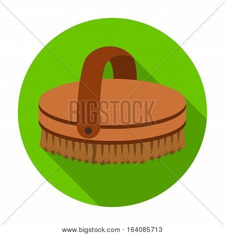 Horse body brush icon in flat design isolated on white background. Hippodrome and horse symbol stock vector illustration.