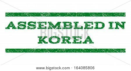 Assembled In Korea watermark stamp. Text tag between horizontal parallel lines with grunge design style. Rubber seal green stamp with scratched texture. Vector ink imprint on a white background.