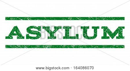 Asylum watermark stamp. Text caption between horizontal parallel lines with grunge design style. Rubber seal green stamp with scratched texture. Vector ink imprint on a white background.