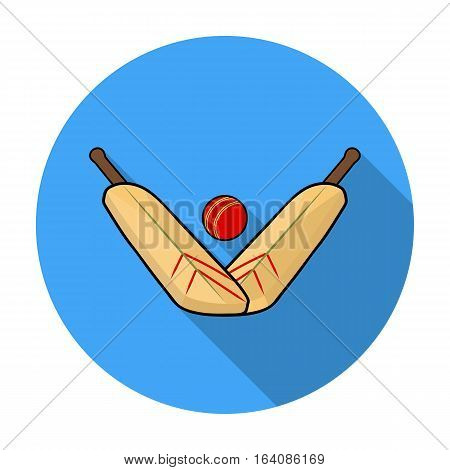 Crossed cricket bats with ball icon in flat design isolated on white background. Australia symbol stock vector illustration.