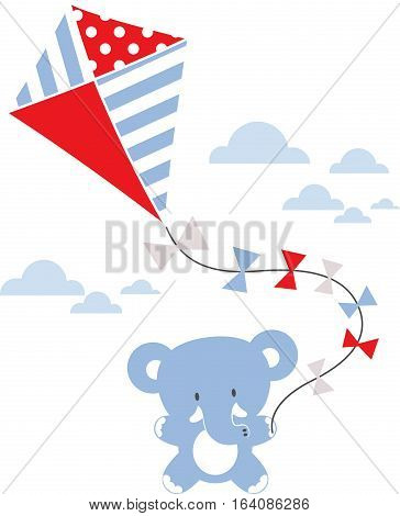 cute baby elephant with kite and clouds isolated on white background