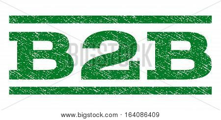 B2B watermark stamp. Text tag between horizontal parallel lines with grunge design style. Rubber seal green stamp with unclean texture. Vector ink imprint on a white background.