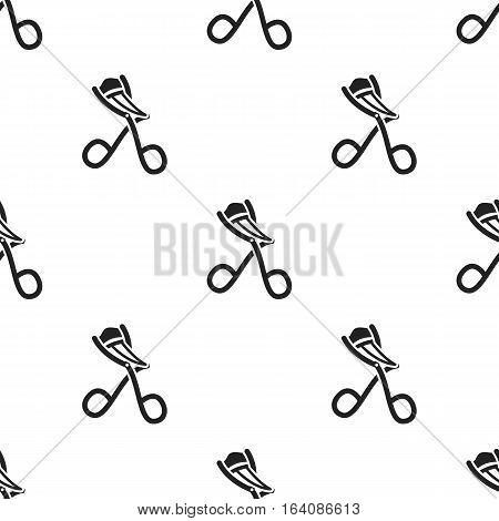 Eyelash curler icon in black style isolated on white background. Hairdressery pattern vector illustration.