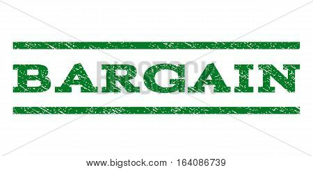 Bargain watermark stamp. Text tag between horizontal parallel lines with grunge design style. Rubber seal green stamp with dirty texture. Vector ink imprint on a white background.
