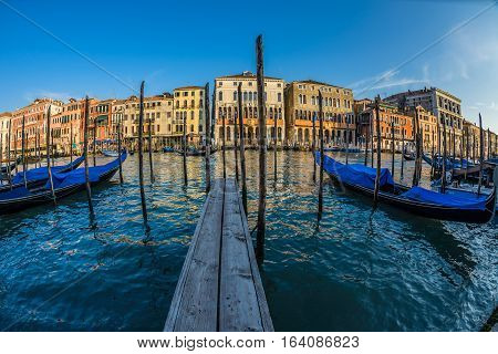 Famous Grand Canal at summer day, Venice, Italy.Fish eve view.