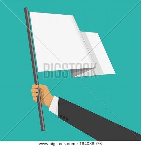Businessman holds white flag of surrender. Hand holding blank flag. Flat style vector illustration. Surrender concept.