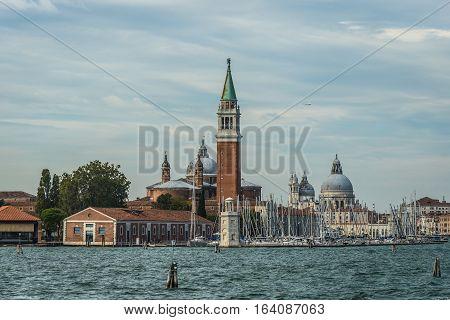 San Giorgio Maggiore and in the background is the church Santa Maria della Salute. Venice ,Italy.