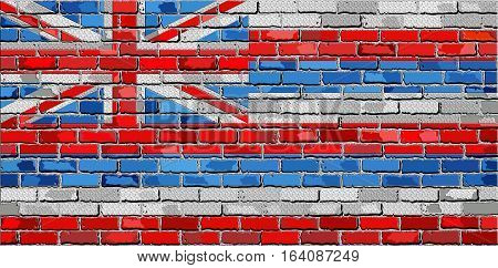 Flag of Hawaii on a brick wall with effect - 3D Illustration,  The flag of the state of Hawaii on brick textured background,  Hawaii Flag in brick style