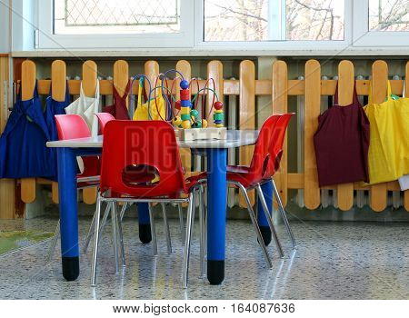 Small School Table With Chairs And Toys Inside A School