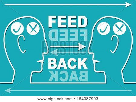 Feedback presentation slide with two head silhouettes in white line design and arrows. Accompanying graphics to soft skills training or workshop