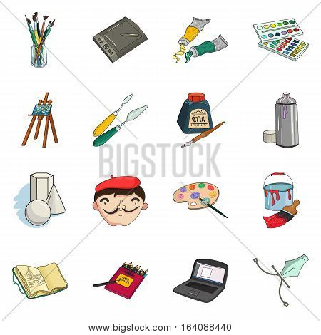 Artist and drawing set icons in cartoon style. Big collection of artist and drawing vector symbol stock