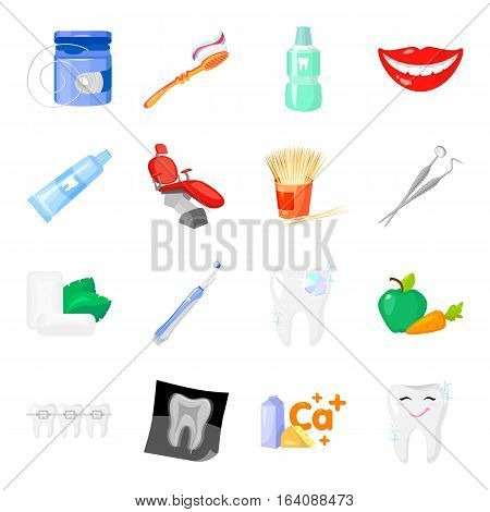 Dental care set icons in cartoon style. Big collection of dental care vector symbol stock