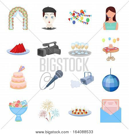 Event service set icons in cartoon style. Big collection of event service vector symbol stock