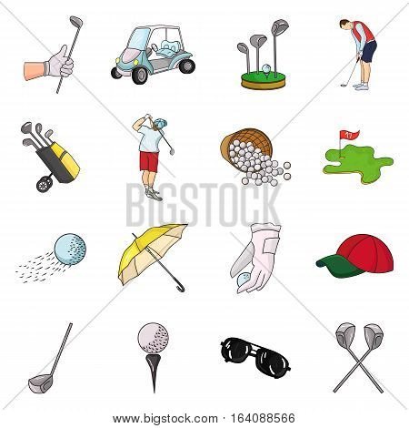 Golf club set icons in cartoon style. Big collection of golf club vector symbol stock