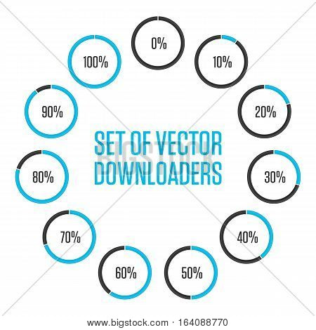 Icons pie graph circle percentage blue chart. Infographics vector colored diagrams, isolated on white background.