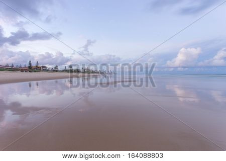 Sunset reflections at Nobbys/Miami Beach on the Gold Coast, Australia