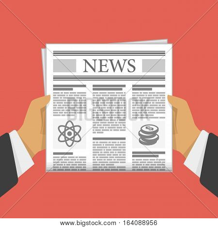 Business man hands holding newspaper. Man reading a Newspaper news. Vector illustration in flat design on red background.