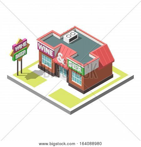 Vector isometric icon infographic 3d building alcoholic shop