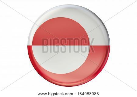 Badge with flag of Greenland 3D rendering isolated on white background