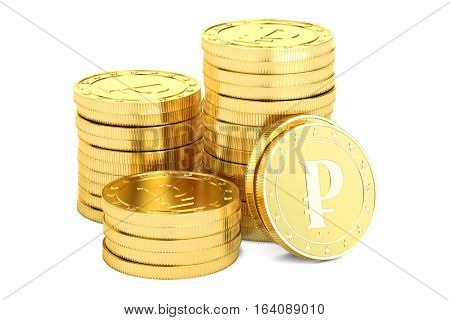 Gold ruble coins 3D rendering isolated on white background