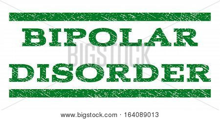 Bipolar Disorder watermark stamp. Text tag between horizontal parallel lines with grunge design style. Rubber seal green stamp with scratched texture. Vector ink imprint on a white background.