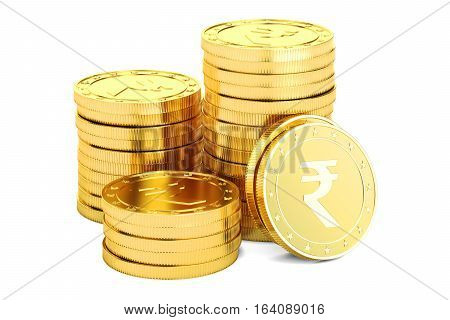 Gold rupee coins 3D rendering isolated on white background
