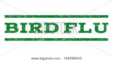 Bird Flu watermark stamp. Text tag between horizontal parallel lines with grunge design style. Rubber seal green stamp with scratched texture. Vector ink imprint on a white background.