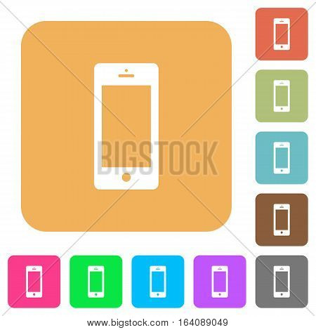 Cellphone icons on rounded square vivid color backgrounds.
