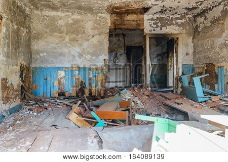 One of the rooms of an abandoned medical sanatorium. In the 20th century the sanatorium was used as a treatment sanatorium and summer camp.