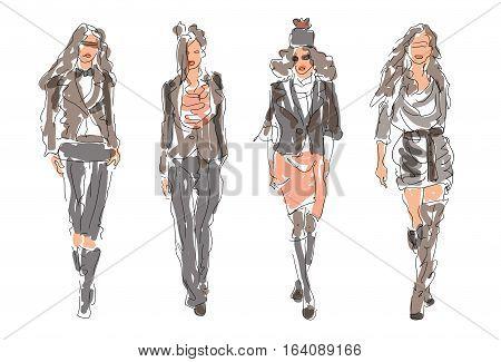 Sketch Fashion Women in modern style - vector illustration