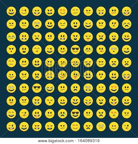 Set of yellow emoticons, icon pack, emoji isolated on dark background. Abstract funny flat style smiles Set. Emoticon for web.