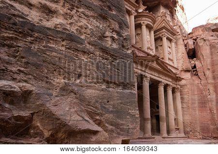 Ancient nabataean temple Al Khazneh (Treasury) located at Rose city - Petra, Jordan.