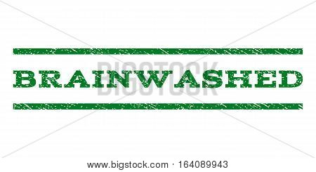 Brainwashed watermark stamp. Text tag between horizontal parallel lines with grunge design style. Rubber seal green stamp with scratched texture. Vector ink imprint on a white background.