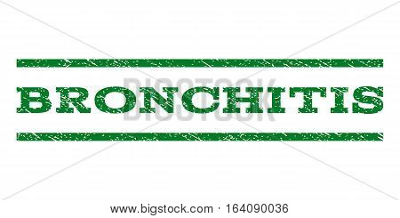 Bronchitis watermark stamp. Text tag between horizontal parallel lines with grunge design style. Rubber seal green stamp with scratched texture. Vector ink imprint on a white background.