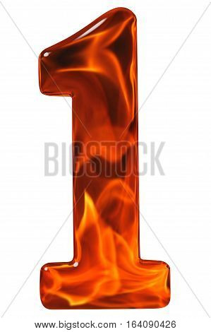 1, One, Numeral From Glass With An Abstract Pattern Of A Flaming Fire, Isolated On White Background