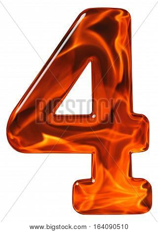4, Four, Numeral From Glass With An Abstract Pattern Of A Flaming Fire, Isolated On White Background
