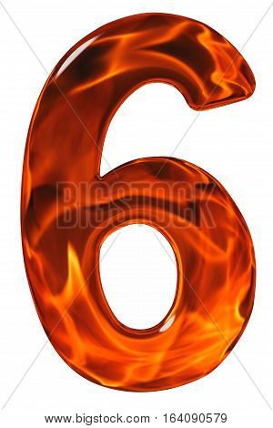 6, Six, Numeral From Glass With An Abstract Pattern Of A Flaming Fire, Isolated On White Background