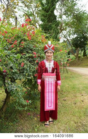 Chiang Rai Thailand - January 3 2017: Portrait of Unidentified H'mong girls wearing traditional dress during Lunar New Year holiday in Chiang raiThailand.