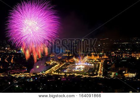 Bangkok in Thai father's Day our King birthday festival Thailand with fireworks