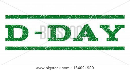 D-Day watermark stamp. Text tag between horizontal parallel lines with grunge design style. Rubber seal green stamp with scratched texture. Vector ink imprint on a white background.