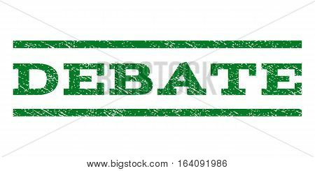 Debate watermark stamp. Text tag between horizontal parallel lines with grunge design style. Rubber seal green stamp with unclean texture. Vector ink imprint on a white background.