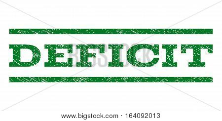 Deficit watermark stamp. Text tag between horizontal parallel lines with grunge design style. Rubber seal green stamp with dust texture. Vector ink imprint on a white background.