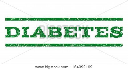 Diabetes watermark stamp. Text caption between horizontal parallel lines with grunge design style. Rubber seal green stamp with dirty texture. Vector ink imprint on a white background.