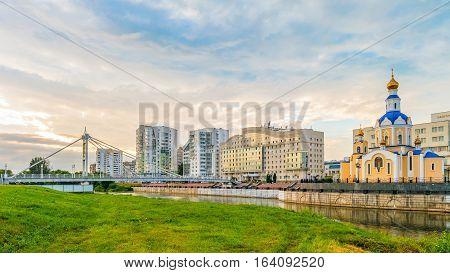 Belgorod cityscape. Pedestrian bridge over the river