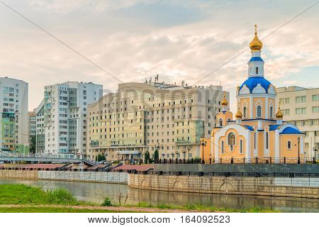 BELGOROD RUSSIA - JULY 04 2016: Church of the Archangel Gabriel Belgorod State University dormitory on embankment of river Vezelka.