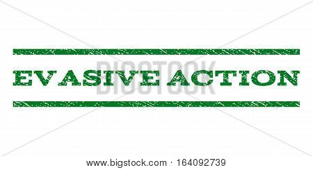 Evasive Action watermark stamp. Text tag between horizontal parallel lines with grunge design style. Rubber seal green stamp with dirty texture. Vector ink imprint on a white background.