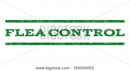 Flea Control watermark stamp. Text tag between horizontal parallel lines with grunge design style. Rubber seal green stamp with dust texture. Vector ink imprint on a white background.