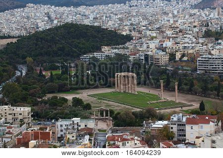 Temple of Olympian Zeus against the background of the panorama Athens.