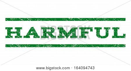 Harmful watermark stamp. Text tag between horizontal parallel lines with grunge design style. Rubber seal green stamp with unclean texture. Vector ink imprint on a white background.